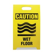 "See All® 12"" x 20"" x 14"" Economy Floor Sign ""CautionWet Floor"", Black On Yellow"