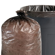 "Stout 100% Recycled Plastic Garbage Bag, 36"" x 58"", Brown"