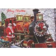 Cartes de Noël, Père Noël avec train, paq./12