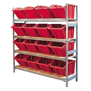 Kleton Wide Span 4 Shelf Shelving with Plastic Bins, 16/Pack