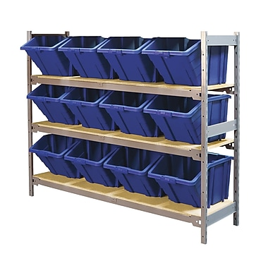 Kleton Wide Span 3 Shelf Shelving with Plastic Bins, 12/Pack