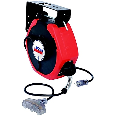 Lincoln® 50' Medium Duty Power Cord Reel with Triple Tap