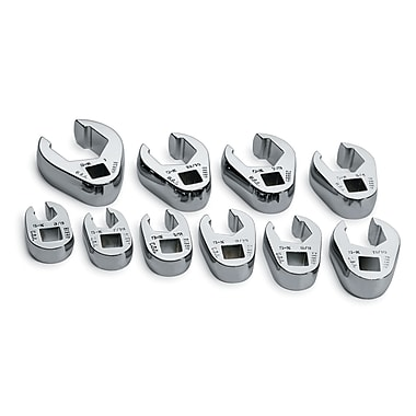 SK® SuperKrome® SAE Flare Nut Crowfoot Wrench Set, 10-Piece