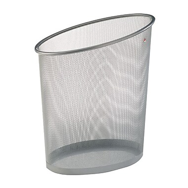 Alba Oval Mesh Waste Basket, 18L Capacity, Silver, 6/Pack