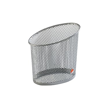 Alba Elliptical Mesh Pencil and Pen Holder, Metallic Silver, 12/Pack
