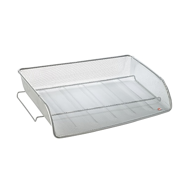 Alba Mesh Letter Tray, Stackable, Side Loading, Silver, 6/Pack