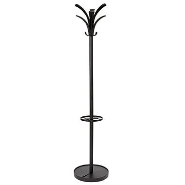 Alba Brio Floor Coat Stand with 6 Pegs and 3 Hooks, Black