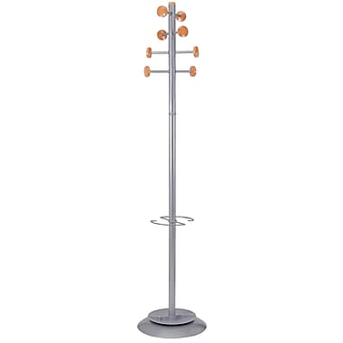 Alba Timby Floor Coat Stand, 8 Wooden Pegs, Silver Grey and Wood