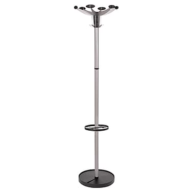 Alba Sevilla Floor Coat Stand, 6 Pegs and 16 Hooks, Silver