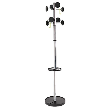 Alba Stan3 Floor Coat Stand, 8 Rounded Pegs, Chrome