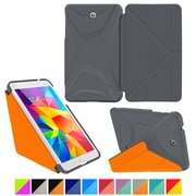 "rOOCASE Origami Polyurethane Folio Smart Case Cover for 7"" Samsung Galaxy Tab 4, Space Gray/Orange"
