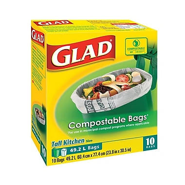 Glad 78163 Biodegradable Kitchen Bags, 49.2L, Tall, Tan, 120 Bags/Case