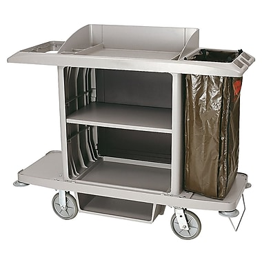 Rubbermaid – Chariot d'entretien ménager 618900PLAT, grand, avec sac en vinyle, pare-chocs et porte-aspirateur