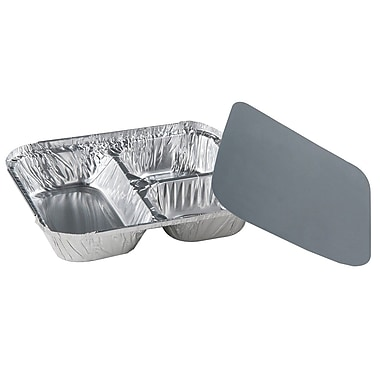3-Compartment Oblong Hi-Divider Tray with Paper Cover, 200/Case