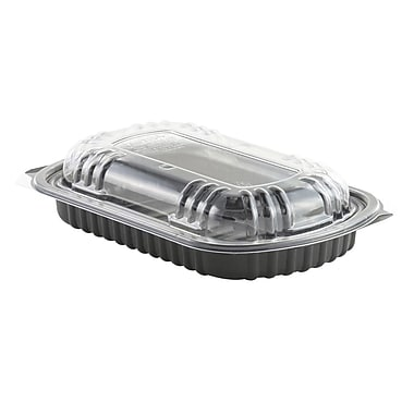 Anchor Polypropylene Half Slab Rib Combo Container with Ops Lid, Clear, 100/Case