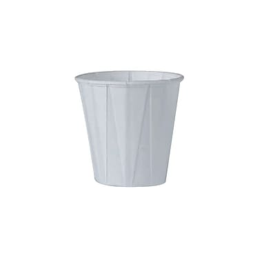 Solo Pleated Paper Water Cup, Rolled Rim, White, 3-1/2 oz., 50/100Pack/Case