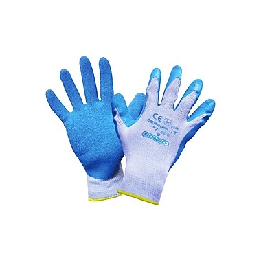 Ronco Grip-It Latex Coated Gloves, Large, Blue/Grey, 12/Pack, 72 Pair/Case