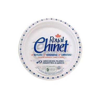 Royal Chinet Natural Pulp Fibre Resale Plate, Flower & Leaf Design, 40/Pack, 18 Pack/Case