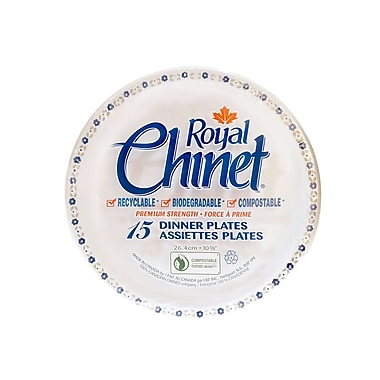 Royal Chinet Natural Pulp Fibre Resale Plate, Flower & Leaf Design, 24/Pack, 360/Case