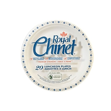 Royal Chinet Natural Pulp Fibre Resale Plate, Flower & Leaf Design, 20/Pack, 480/Case