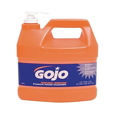 Gojo Natural Hand Cleaner with Pumice Pump Dispenser, 1 Gallon, Citrus Orange, 4/Case