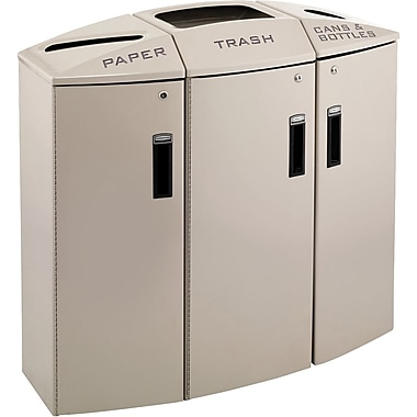 Rubbermaid 3 Stream Paper/Trash/Casens & Bottles Recycling Station, 44 Gallon
