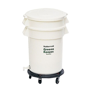 Rubbermaid 32 Gallon Brute Greenskeeper Drainage with Lid & Dolly Container, White
