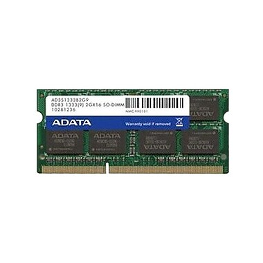 ADATA 2GB DDR3 1333MHz (PC3 10666) 204-Pin SO-DIMM (AD3S1333C2G9-2)