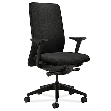 HON Nucleus Upholstered Back Task Chair with Seat Glide Adjustable Arms, Black Fabric