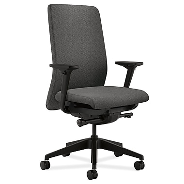 HON Nucleus Upholstered Back Task Chair with Seat Glide Adjustable Arms, Gray Fabric