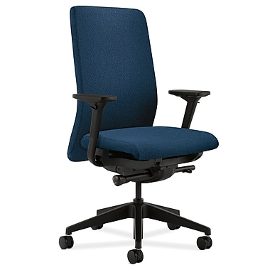 HON Nucleus Upholstered Back Task Chair with Seat Glide Adjustable Arms, Blue Fabric
