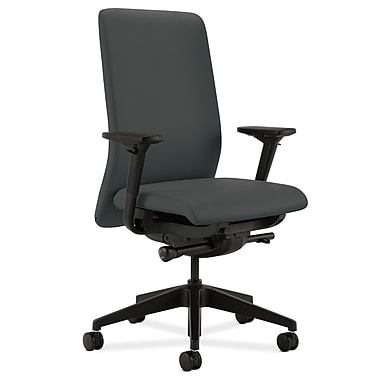 HON Nucleus Upholstered Back Task Chair with Seat Glide Adjustable Arms, Iron Ore Fabric