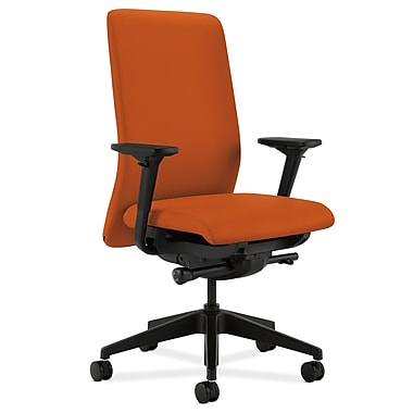 HON Nucleus Upholstered Back Task Chair with Seat Glide Adjustable Arms, Tangerine Fabric