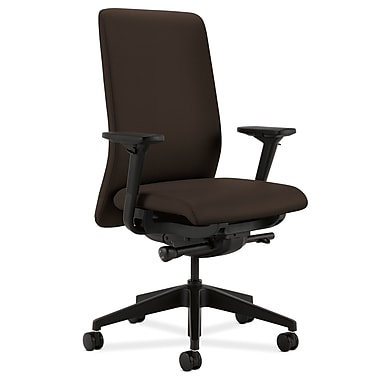 HON Nucleus Upholstered Back Task Chair with Seat Glide Adjustable Arms, Espresso Fabric
