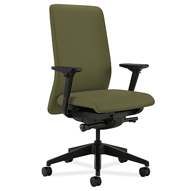 HON Nucleus Upholstered Back Task Chair with Seat Glide Adjustable Arms, Olivine Fabric