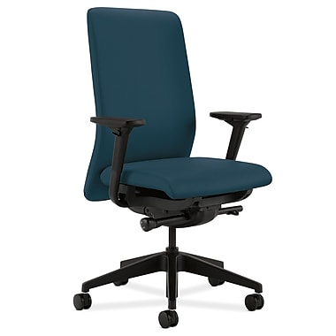 HON Nucleus Upholstered Back Task Chair with Seat Glide Adjustable Arms, Cerulean Fabric