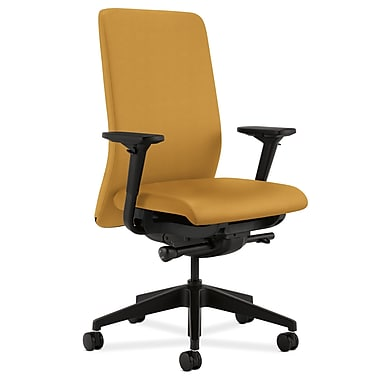 HON Nucleus Upholstered Back Task Chair with Seat Glide Adjustable Arms, Mustard Fabric