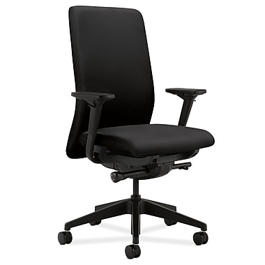 HON Nucleus Upholstered Back Task Chair with Seat Glide, Black Fabric