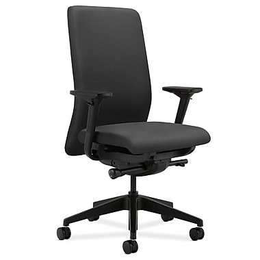 HON Nucleus Upholstered Back Task Chair with Seat Glide Adjustable Arms, Charcoal Fabric