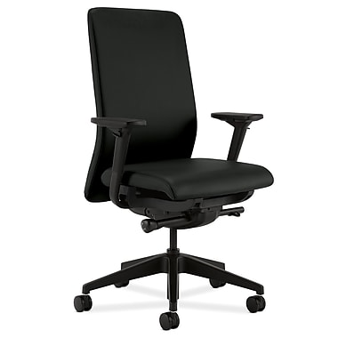 HON Nucleus Upholstered Back Task Chair with Seat Glide Adjustable Arms, Black Polyurethane