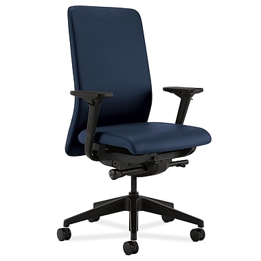 HON Nucleus Upholstered Back Task Chair with Seat Glide Adjustable Arms, Ocean Polyurethane