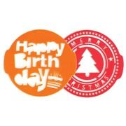 Pavoni - Pochoirs d'anniversaire et de Noël, 7,8 po x 7,3 po x 0,1 po, rouge/orange, paq./2