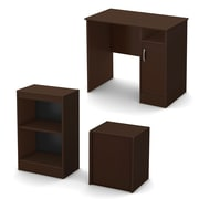 South Shore™ Axess Laminated Particleboard/Metal 3 Piece Office-In-Box Furniture Set, Chocolate
