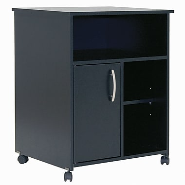 South Shore Axess Microwave Cart with Storage on Wheels, Pure Black , 23.5'' (L) x 19.5'' (D) x 29.5'' (H)