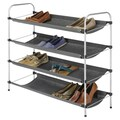 Whitmor 4-Tier Fabric Closet Shelves, Silver/Black