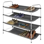 Whitmor 4-Tier Fabric Closet Shelves, Silver/Black