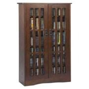 Leslie Dame Glass Door Multimedia Storage Cabinet; Walnut