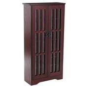 Leslie Dame Glass Door Multimedia Storage Cabinet; Dark Cherry