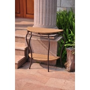International Caravan Valencia Half Moon Wicker Resin 2-Tier Patio Table