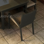 Forever Patio Barbados Dining Arm Chair with Cushion; Spectrum Mushroom / Spectrum Sand Welt